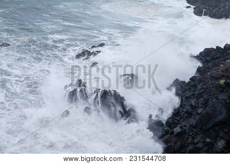 Natural Ocean Swimming Pools On Tenerife Island While Stormy Weather. Outdoor Shot In Spain. Copy Sp