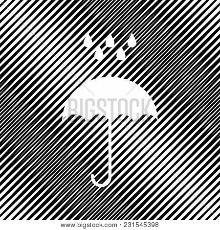 Umbrella With Water Drops. Rain Protection Symbol. Flat Design Style. Vector. Icon. Hole In Moire Ba
