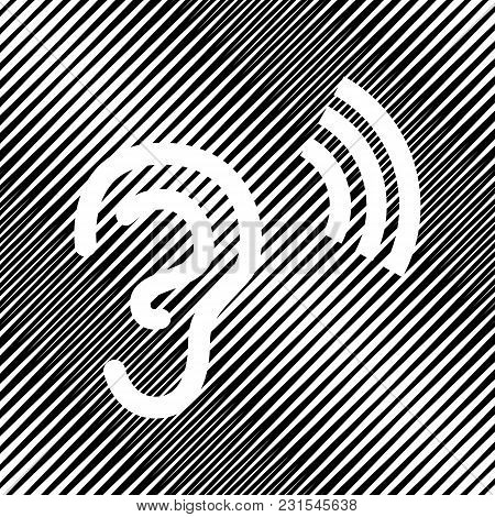 Human Anatomy. Ear Sign With Soundwave. Vector. Icon. Hole In Moire Background.