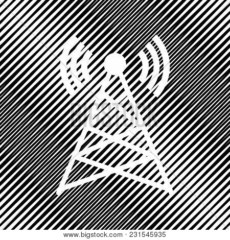Antenna Sign Illustration. Vector. Icon. Hole In Moire Background.