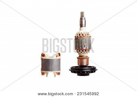 Rotor And Stator - Two Parts Of Electric Motor. High Resolution Photo.