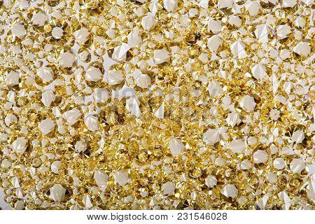 Many Small Ruby Diamond Stones, Luxury Background. High Resolution Photo
