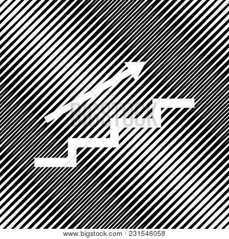 Stair With Arrow. Vector. Icon. Hole In Moire Background.