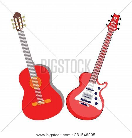 Guitar Icon Vector On White Background For Musical Project Or Logo
