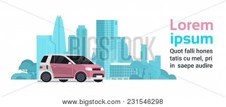 New Hybrid Vechicle Over Silhouette City Background With Copy Space Vector Illustration