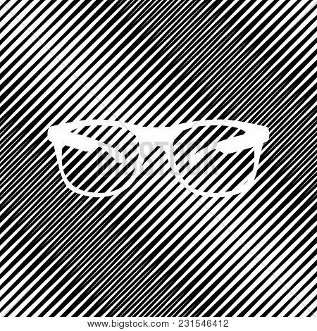 Sunglasses Sign Illustration. Vector. Icon. Hole In Moire Background.