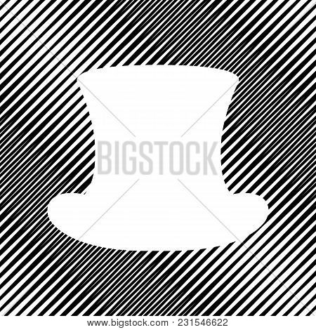 Top Hat Sign. Vector. Icon. Hole In Moire Background.