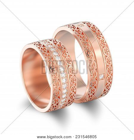 3d Illustration Isolated Two Rose Gold Decorative Wedding Bands Carved Out Rings With Ornament With