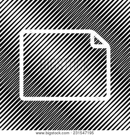 Horizontal Document Sign Illustration. Vector. Icon. Hole In Moire Background.