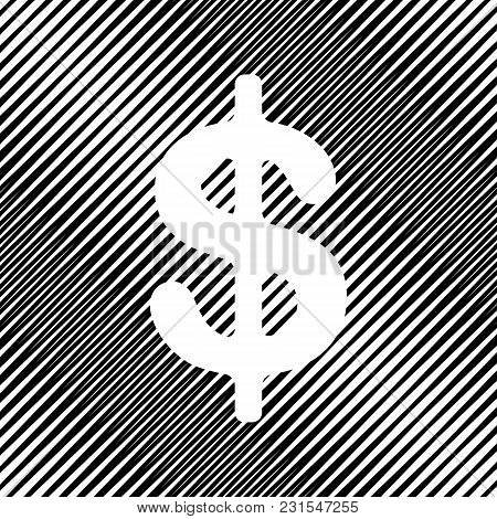 Dollars Sign Illustration. Usd Currency Symbol. Money Label. Vector. Icon. Hole In Moire Background.