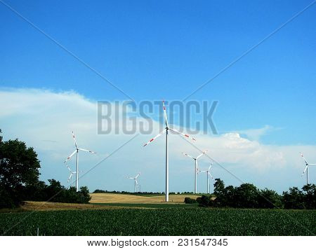 Renewable Energy Wind Farm. Windmills For Electric Power Production, Hungary