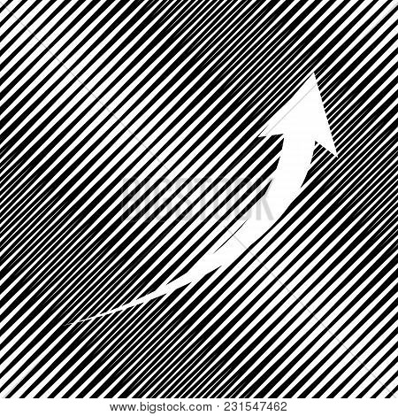 Growing Arrow Sign. Vector. Icon. Hole In Moire Background.