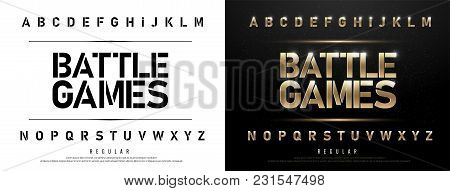 Technology Alphabet Golden Metallic And Effect Designs For Logo, Poster. Exclusive Gold Letters Typo