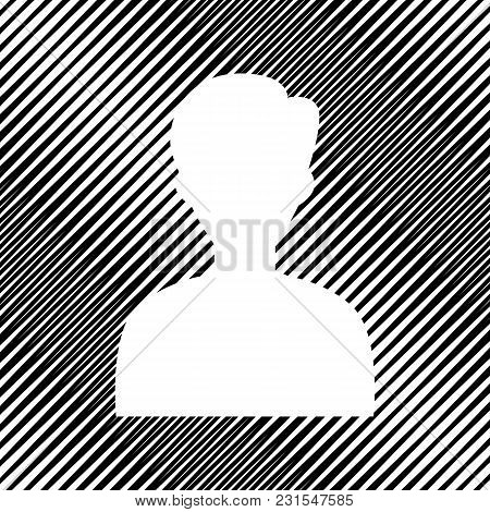 User Avatar Illustration. Anonymous Sign. Vector. Icon. Hole In Moire Background.