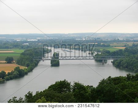 Panoramic View From Walhalla Monument To Danube River, Germany