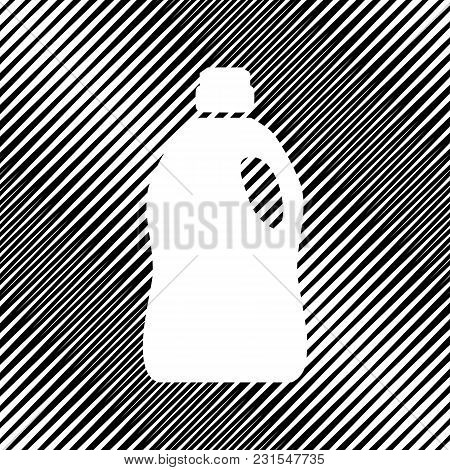 Plastic Bottle For Cleaning. Vector. Icon. Hole In Moire Background.