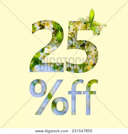 25% Off Discount. The Concept Of Spring Sale, Stylish Poster, Banner, Promotion, Ads.