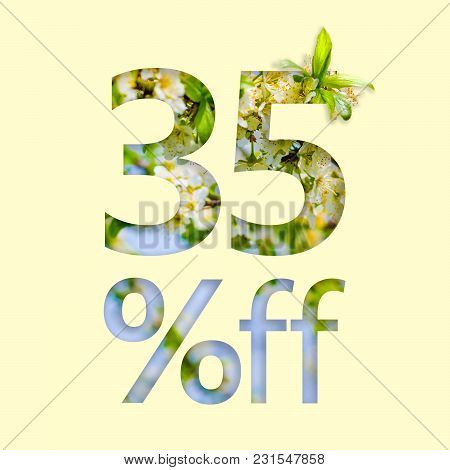 35% Off Discount. The Concept Of Spring Sale, Stylish Poster, Banner, Promotion, Ads.