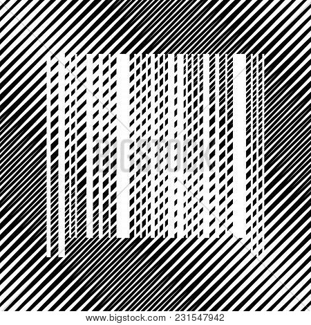 Bar Code Sign. Vector. Icon. Hole In Moire Background.