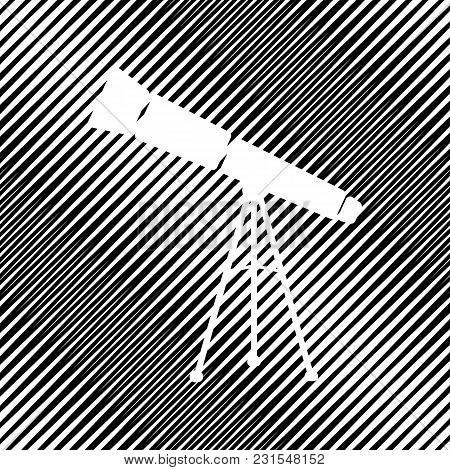 Telescope Simple Sign. Vector. Icon. Hole In Moire Background.