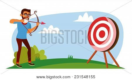 Attainment Concept Vector. Businessman Shooting From A Bow In A Target. Objective Attainment, Achiev
