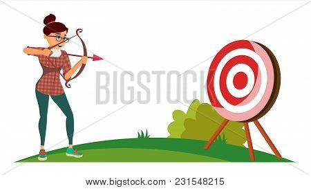 Attainment Winner Concept Vector. Business Woman Shooting From A Bow In A Target. Objective Attainme