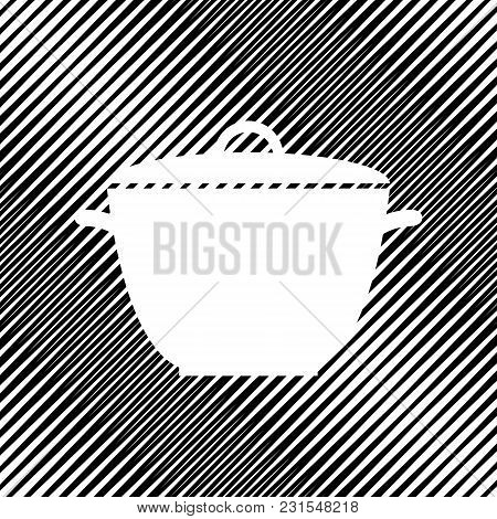 Saucepan Simple Sign. Vector. Icon. Hole In Moire Background.