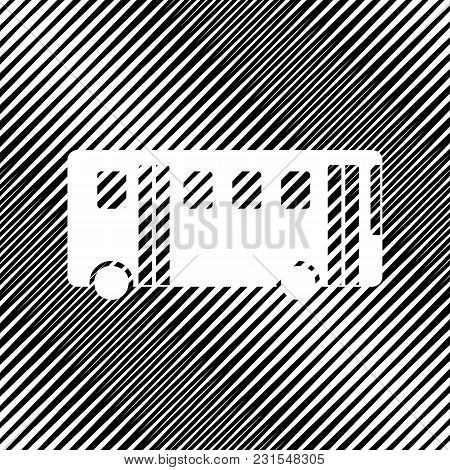 Bus Simple Sign. Vector. Icon. Hole In Moire Background.
