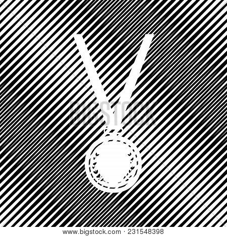 Medal Simple Sign. Vector. Icon. Hole In Moire Background.