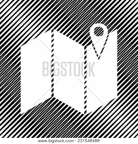 Pin On The Map. Vector. Icon. Hole In Moire Background.