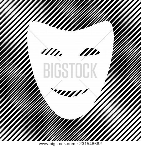 Comedy Theatrical Masks. Vector. Icon. Hole In Moire Background.