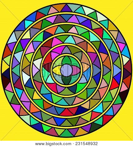 Yellow Background And Abstract Colored Image Of Circle Consisting Of Lines And Figures