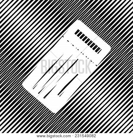 Ticket Simple Sign. Vector. Icon. Hole In Moire Background.