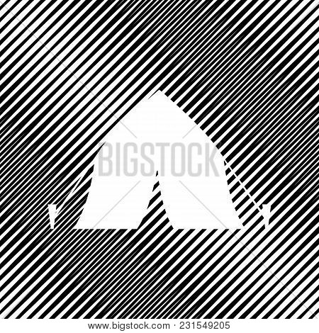 Tourist Tent Sign. Vector. Icon. Hole In Moire Background.