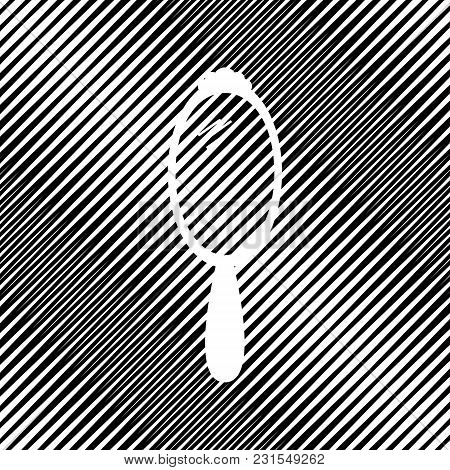 Hand Mirror Sign. Vector. Icon. Hole In Moire Background.
