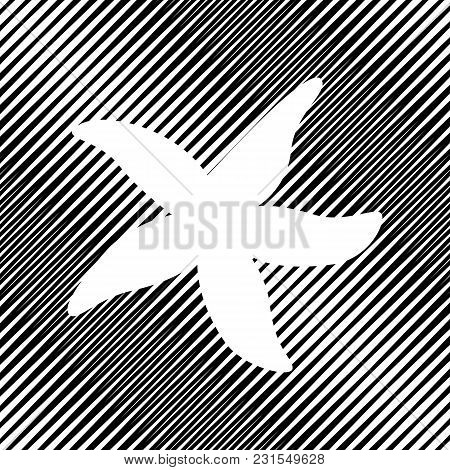 Sea Star Sign. Vector. Icon. Hole In Moire Background.