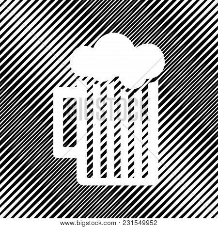 Glass Of Beer Sign. Vector. Icon. Hole In Moire Background.