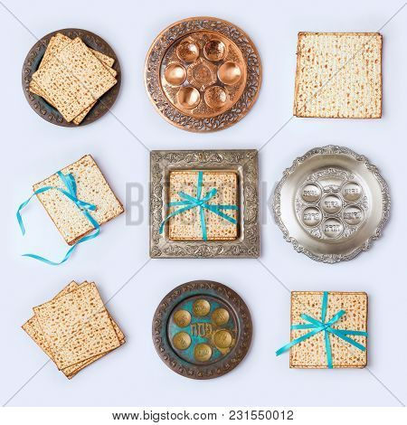 Jewish Holiday Passover Concept With Matzo And Seder Plate On White Background. View From Above. Fla