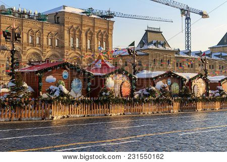 Moscow, Russia - February 14, 2018: Trade Pavilions At The Christmas Market On Red Square In Moscow