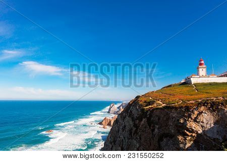 Scenic Landscape With Lighthouse At The Cabo Da Roca, A Cape Which Forms The Westernmost Extent Of M