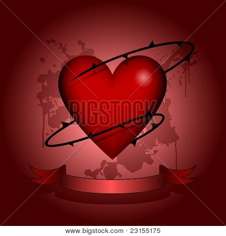 Heart in thorns tattoo design