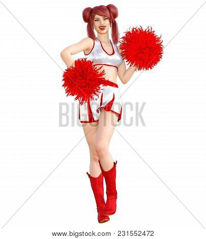3d Beautiful Red Hair Cheerleader Skirt And Long Boots.bright Makeup.woman Studio Photography.high H