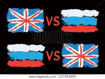 Conflict Between Great Britain And Russia. Rectangular Flags On Dark Background. Cold War Illustrati