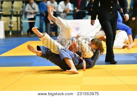 Orenburg, Russia - 21 October 2017: Girls Compete In Judo