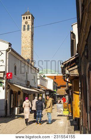 Sarajevo, Bosnia-erzegovina - February, 16:view Of The Clock Tower Called Sahat Kula In Sarajevo On