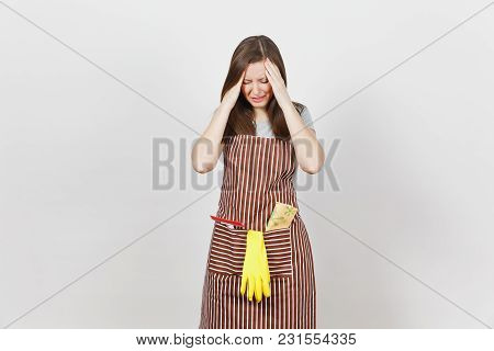 Young Sad Upset Tired Crying Housewife In Striped Apron With Cleaning Rag, Squeegee, Yellow Gloves I