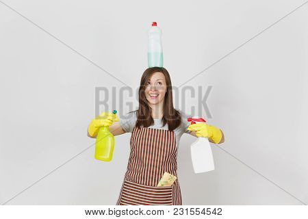 Fun Housewife In Yellow Gloves, Striped Apron, Cleaning Rag In Pocket On White Background. Woman Hol