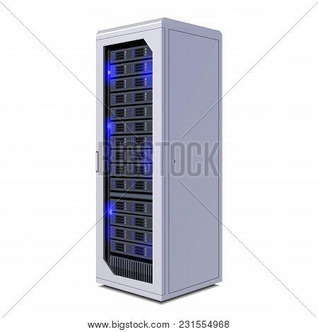Telecommunication Racks, Server, Hardwares, Internet Data Center. Illustration Isolated On White Bac