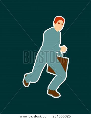 Businessman Running With Briefcase. Abstract Illustration. Modern Lifestyle Metaphor