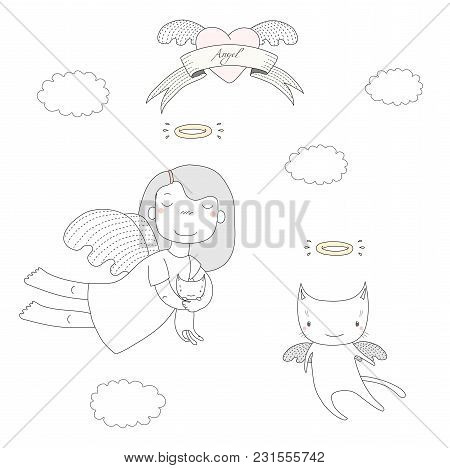 Hand Drawn Vector Illustration Of A Cute Little Angel Girl, Holding Kitten, And Angel Cat, Flying, W